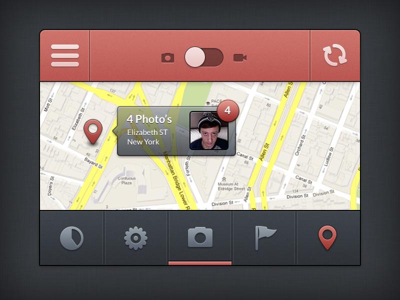 Prectice Iphone Ui  Free Psd  ui design location photo video iphone app slider tabs