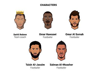 Al Ahli FC - Characters saudi arabia team faces footballers football characterillustration characters saudi riyadh jeddah games gameapp design cards cardpack branding baloot arab app alahli