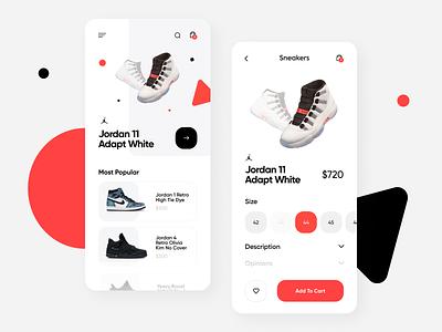 Mobile Sneaker Store Concept application app ui ui  ux uiux shopping app shop design app mobile app design flat minimal concept design figma ui design add design sneakers sneaker app design ui design app