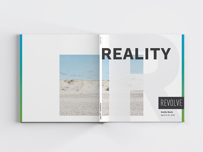 REALITY Revolve Guide Book clean white space journey israel conference book print design