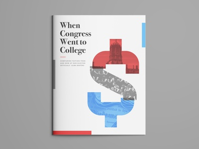 Report Cover booklet serif blue red congress government college clean