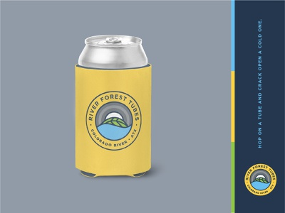 Tubing company merch leaf forest outdoor badge round river water adventure outdoor logo koozie beer yellow tube outdoor