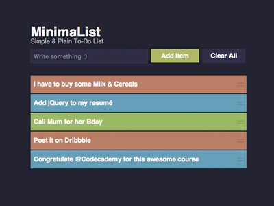 MinimaList web jquery clean to-do ui interface list purple site