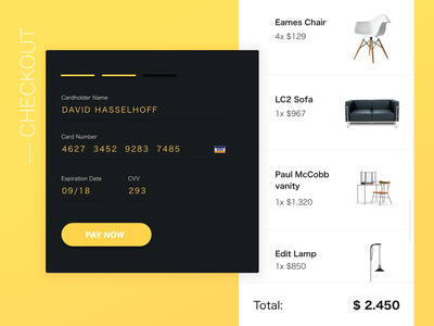 Card Checkout payment form ui yellow credit card checkout