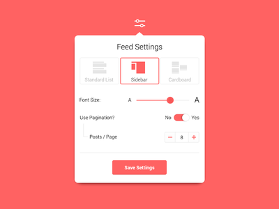 Feed Settings red tooltip ui preferences settings feed