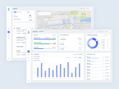 Dashboards for BOD design web map chart dashboard clean blue interface app ui