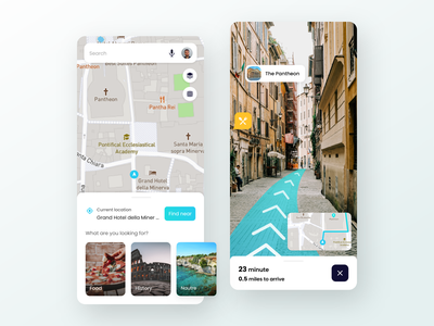 AR Navigation App based on Google map colorful clean gps tracker cards car android app location routes city minimal ux future navigation tourism italy history map ar ui