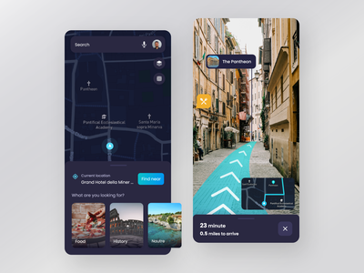 AR Navigation App based on Google map - Dark Mode navigation future ux minimal city routes ui ar map history tourism location app android car cards clean gps tracker dark mode clean colorful