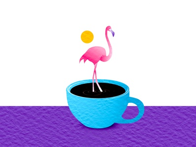 Fred the Flamingo ui watercolor graphic design cafe tropical third wave coffee flamingo illustration