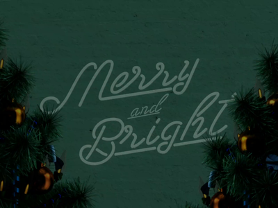 Merry and Bright Neon Christmas Lights gif editorial illustration typeography modern neon light neon sign neon motion design advent animation design christmas illustration