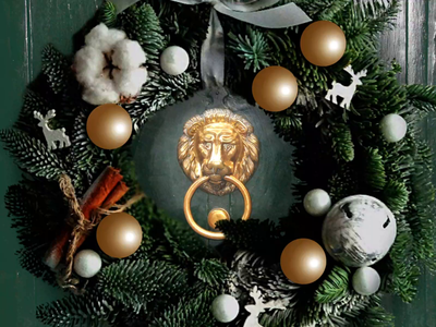 Decorations lion wreath holidays narnia advent design christmas illustration