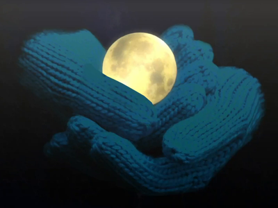 Caught the Moon mittens gloves winter holidays motion graphics motion design animation advent design christmas illustration