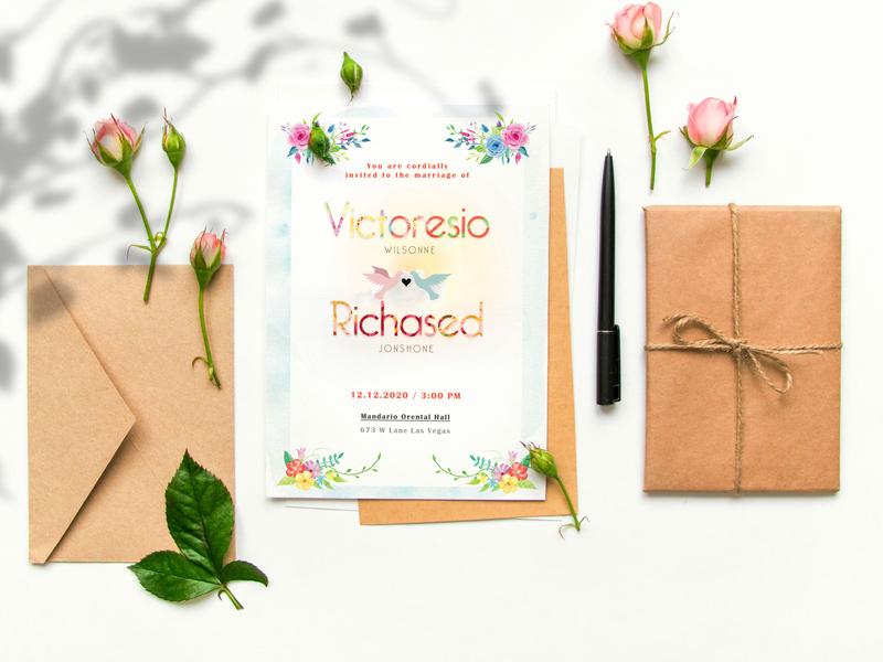 Floral Wedding Invitation Card Psd Template By Masud Parvej