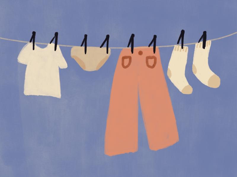 Line dry illustration gouache