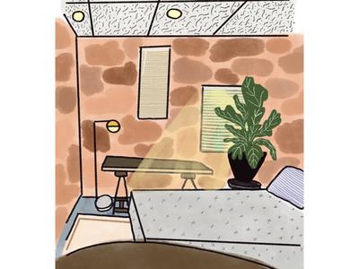 Our studio apartment interior illustration