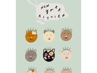 Kitties of New York City nyc cats illustration