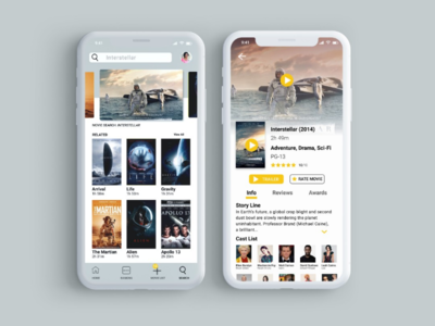 Movie app UI design