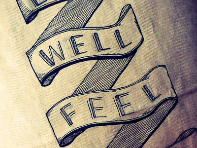 Eat Well Feel Swell quote lettering ribbon packaging