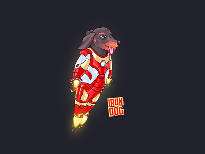 Iron Dog heroes dachshund fantastic iron comix dog illustration dog t-shirt t-shirt graphic t-shirt design adobe ilustrator charachter charachter design art illustration