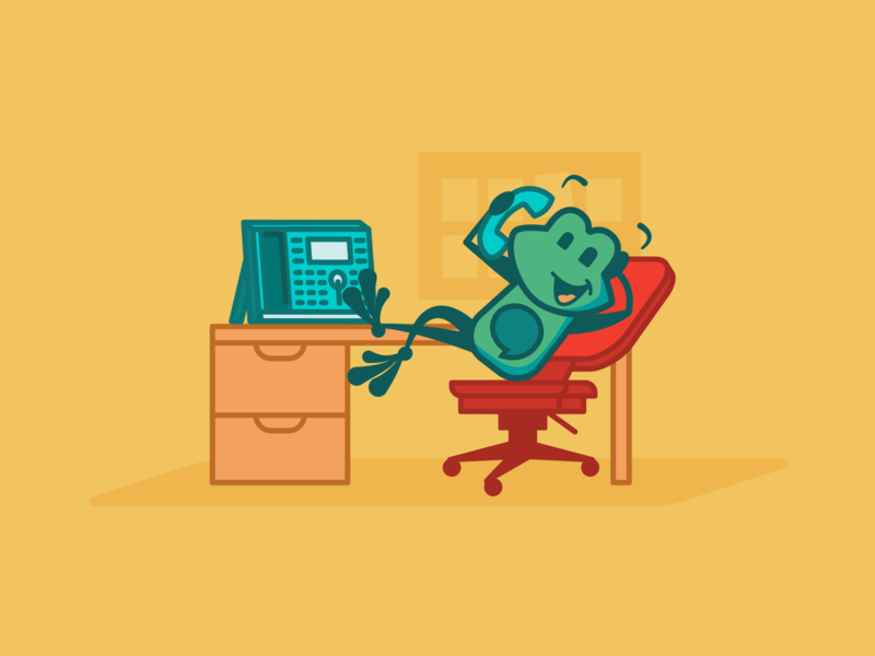 FreePBX Tango Scenes - Office work tango freepbx mascot office desk chatting talking lean back rolly chair desk chair conference call desk post it note office phone frog character design design illustration vector