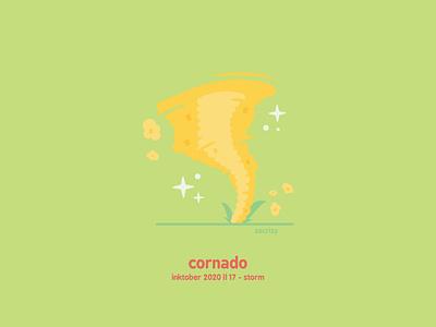 Inktober 2020 - Day 17 - Storm vortex stormy cyclone popcorn tornado corn cornado inktober storm pun food happy cute minimal design illustration vector