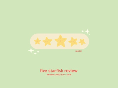 Inktober 2020 - Day 20 - Coral fish feedback rating restaurant coral reef aquatic under the sea coral starfish review five star review inktober pun food happy cute minimal design illustration vector
