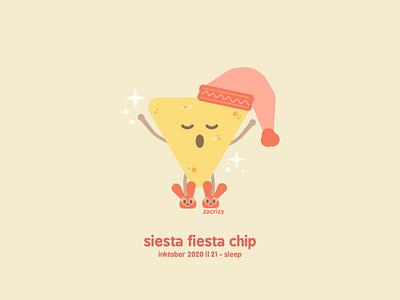 Inktober 2020 - Day 21 - Sleep sleep tortilla chip yawn luchador slippers pajamas naptime nap nachos chip fiesta siesta pun food happy cute minimal design illustration vector