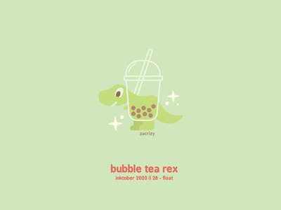 Inktober 2020 - Day 28 - Float bubbles drink liquid plastic cup straw cup dinosaurs boba tea bubble tea trex dinosaur inktober pun food happy cute minimal design illustration vector
