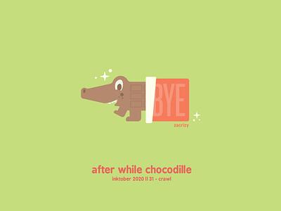 Inktober 2020 - Day 31 - Crawl crocs reptile alligator animal chocolate bar goodbye so long crawl wrapper chocolate crocodile inktober pun food happy cute minimal design illustration vector