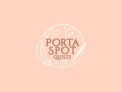 PortaSpot Quilts Logo kids baby etsy shop monogram feather sewing needle magical quilt porta logo icon branding happy cute minimal design illustration vector