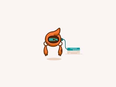 Kit - Downloading plugged in servers kit asterisk character design droid upload robot progress bar download mascot branding happy cute minimal design illustration vector