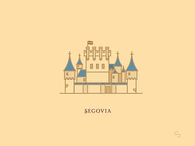 Alcazar de Segovia espana disney castle alcazar segovia adventure minimal spain travel vector illustration architecture