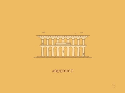 Roman Aqueduct espana history roman empire aqueduct segovia adventure minimal spain travel vector illustration architecture