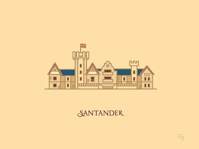 Palacio de la Magdalena gran hotel history palacio de la magdalena palace santander minimal espana spain travel vector illustration architecture