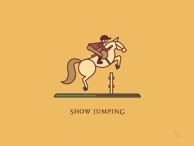 Show Jumping rider equestrian santander show jumping horse adventure minimal espana spain travel vector illustration