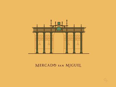Mercado de San Miguel restaurant tapas mercado de san miguel madrid food minimal espana spain travel vector illustration architecture
