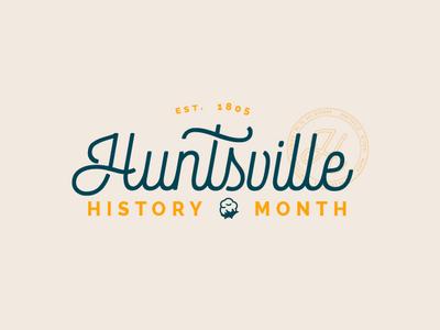 Huntsville History Month (unused design) tourism retro vintage cotton huntsville historic badge stamp typography branding design logo travel illustration vector