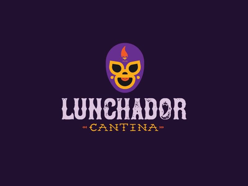 Lunchador Cantina burrito lunchador happy pun concept food truck cantina mask chili restaurant mexican luchador lunch food icon branding logo minimal illustration vector