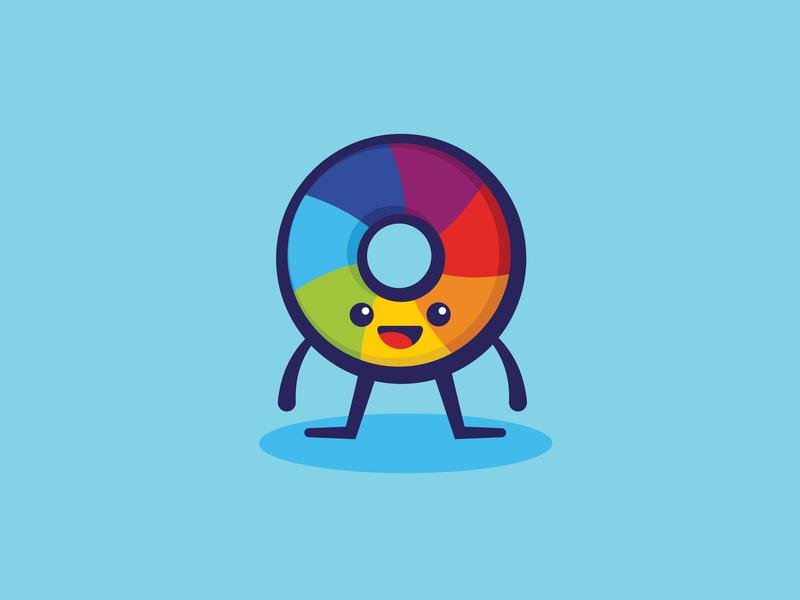 President Icinghower donut branding colors minimal color hands feet colorwheel character design happy design cute illustration vector