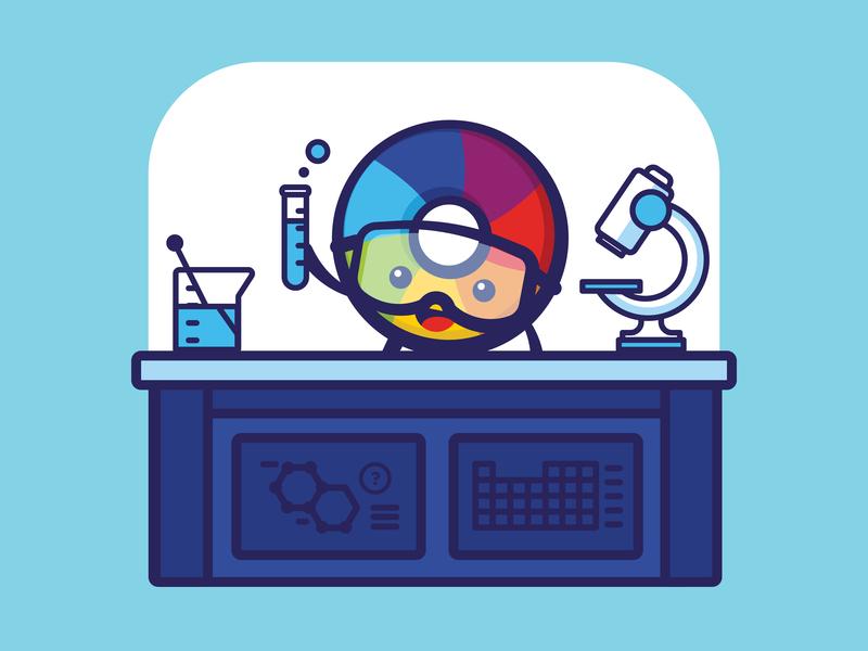 Altmetric - Lab colorwheel color character design science periodic table goggles microscope beaker lab happy branding design minimal cute illustration vector