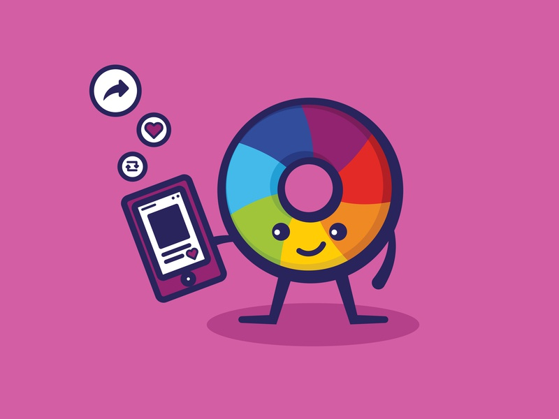 Altmetric - Social mascot phone profile online retweet share heart characterdesign social media app icon happy branding design minimal cute illustration vector