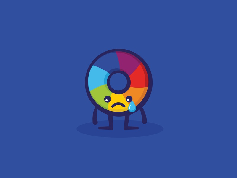 Altmetric - Sad color wheel mascot character design character tears sad branding design minimal cute illustration vector