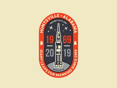 Apollo 11 - Unused concept 3 nasa saturn 5 rocket city rockets 50th anniversary apollo 11 apollo huntsville icon travel logo branding design minimal illustration vector