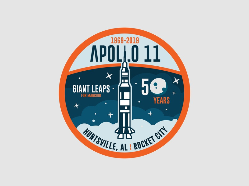 Apollo 11 Patch - Circle rocket city rocket space apollo 11 apollo huntsville icon travel logo branding design minimal illustration vector