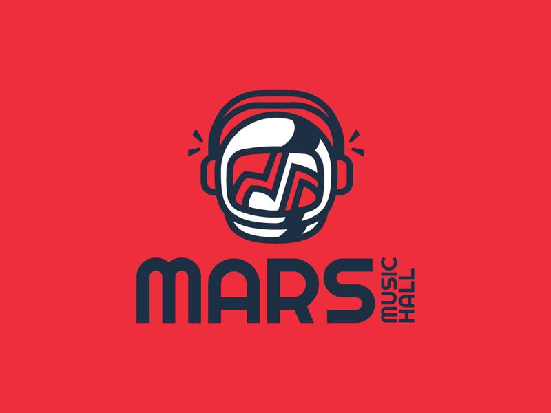 Mars Music Hall nasa rocket city character design mascot spaceman music note music headphones astronaut space huntsville happy icon logo branding cute design illustration vector