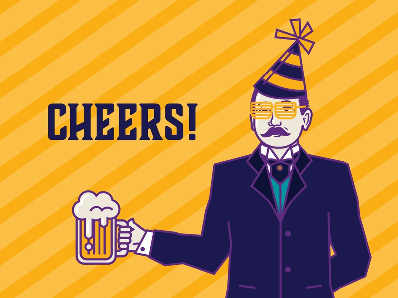 Cass Gilbert - Party paper doll shades party hat art happy washington us chamber of commerce mustache man mascot beer party glasses face design dc cass gilbert architect illustration vector