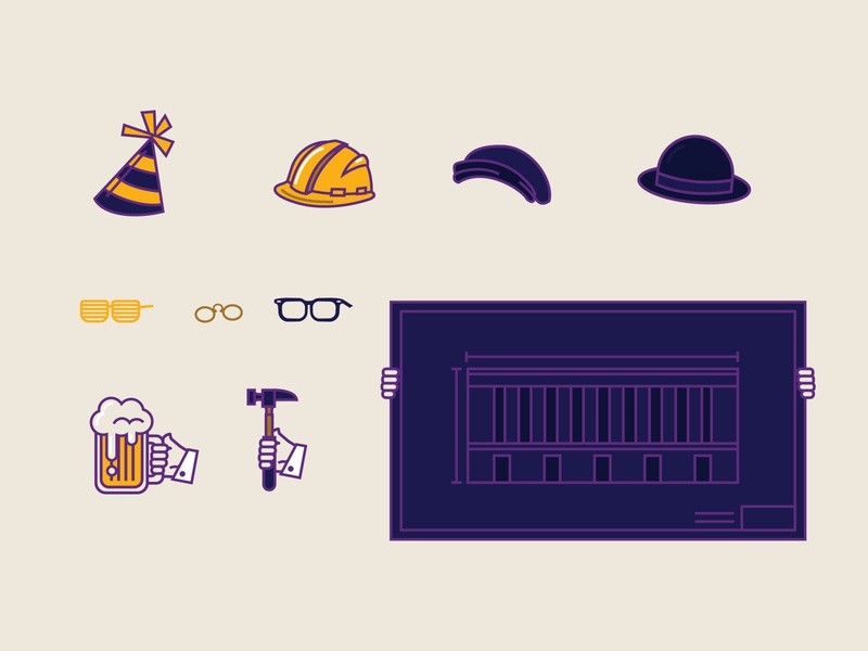 Cass Gilbert - Toolkit paper doll cass gilbert us chamber of commerce washington dc building architecture architect blueprint hammer beer hipster glasses glasses shades bowler hat hipster hat construction hat party hat design illustration vector