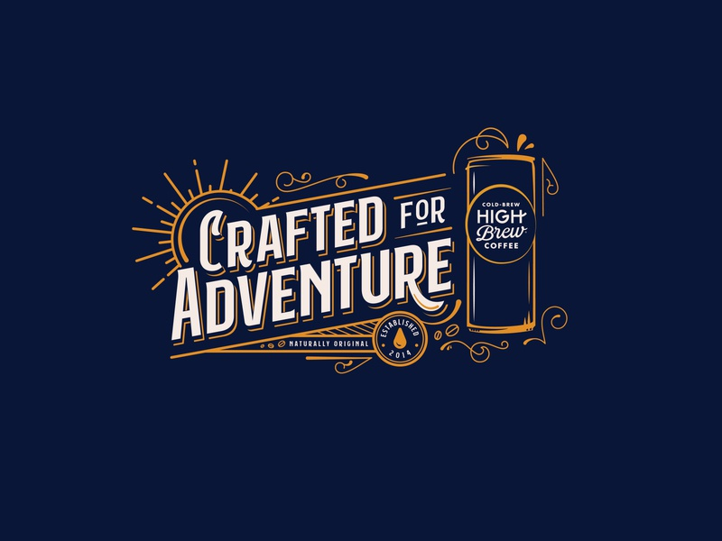 High Brew - Crafted for Adventure craft austin texas outdoors sun natural authentic coffee beans old school crafted apparel shirt coffee shop high brew swirls can vintage adventure coffee cold brew typography