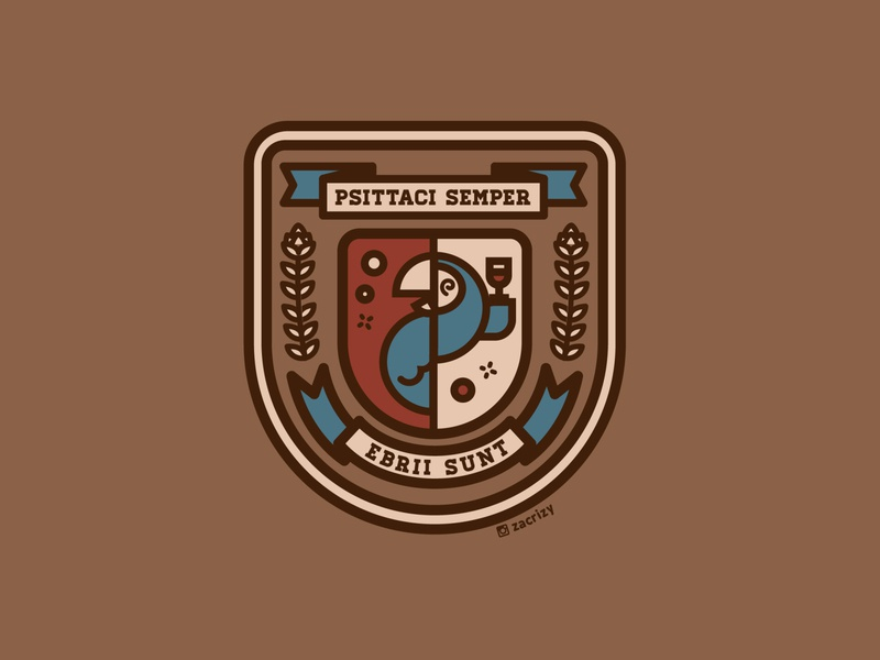 Drunk Latin Parrots Crest motto seal banner hops language parrot drunk badge ancient roman empire psittaci crest logo latin duolingo crest branding logo design illustration vector