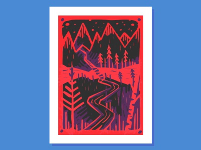 red mountains forest adventure mountain tree linocut